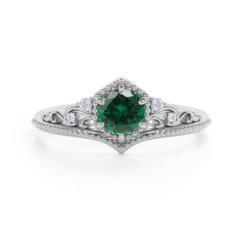 Artisan 1.75 Carat Brilliant Round Emerald and Diamond Classic Art Deco Engagement Ring in White Gold