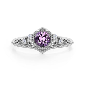 Artisan 1.75 Carat Brilliant Round Amethyst and Diamond Classic Art Deco Engagement Ring in White Gold