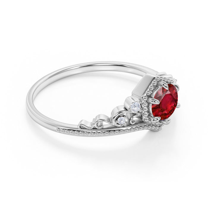 Artisan 1.75 Carat Brilliant Round Ruby and Diamond Classic Art Deco Engagement Ring in White Gold