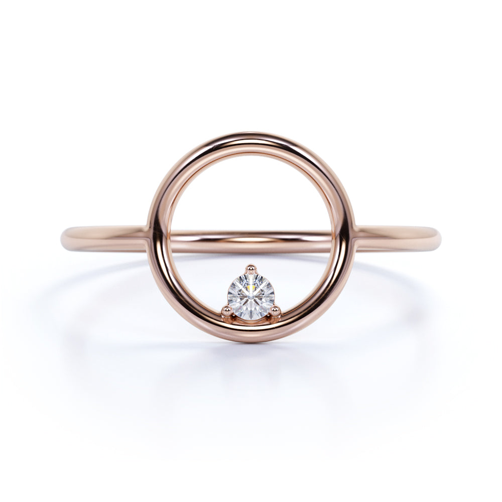 Unique Round Cut Authentic Diamond and Cute Promise Ring in Rose Gold