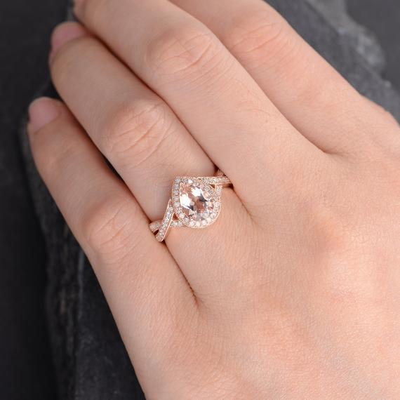 Limited Time Sale: Huge 3 Carat Pear cut Morganite and Diamond Engagement Ring in Rose Gold
