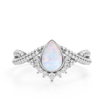 Contour 1.75 Carat Teardrop Shaped Pink Opal and Diamond Antique Infinity Engagement Ring in White Gold