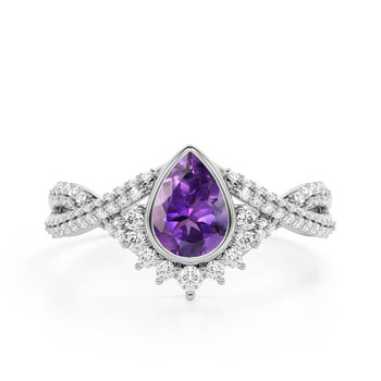Contour 1.75 Carat Teardrop Shaped Amethyst and Diamond Antique Infinity Engagement Ring in White Gold