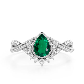 Contour 1.50 Carat Teardrop Shaped Emerald and Diamond Antique Infinity Engagement Ring in White Gold