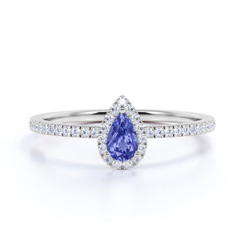 Artisan 1 Carat Teardrop Peacock Tanzanite and Scallop Diamond Best Engagement Ring in White Gold