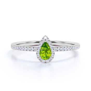 Artisan 1 Carat Teardrop Dark Peridot and Scallop Diamond Best Engagement Ring in White Gold