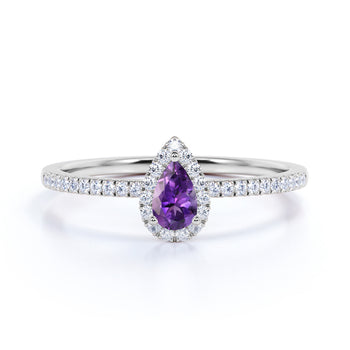 Artisan 1 Carat Teardrop Dark Lavender Amethyst and Scallop Diamond Best Engagement Ring in White Gold