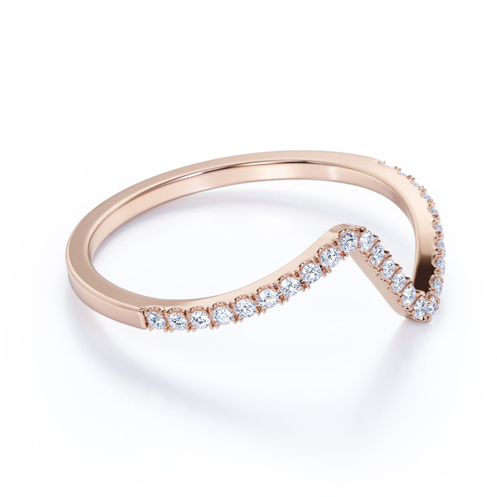 Contoured Round Brilliant Cut Authentic Diamond and Dainty V Curve Wedding Ring Band in Rose Gold