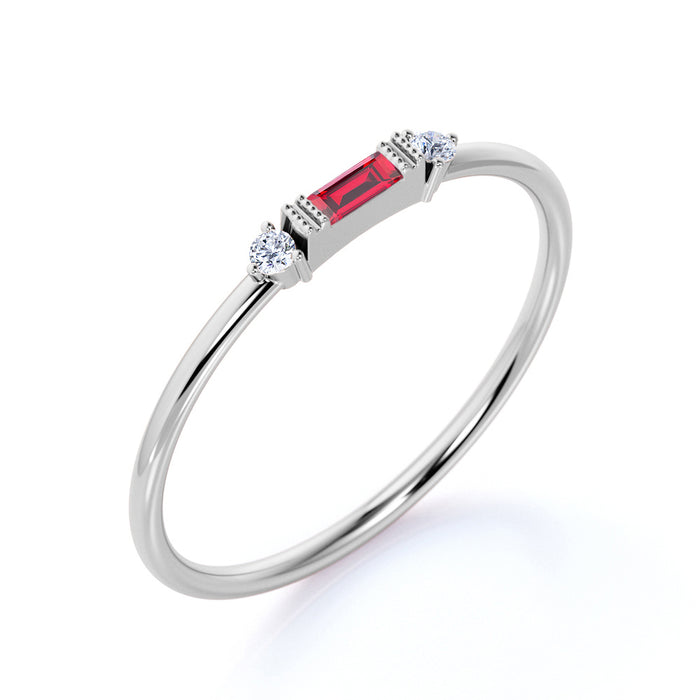 Horizontal Baguette Cut Ruby and Diamond Dainty Stackable Ring Band in White Gold