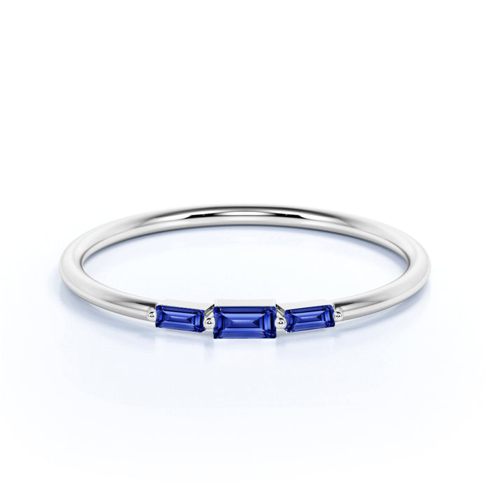 Minimalist 3 Stone Baguette Cut Cornflower Blue Sapphire and Shared Prong Stackable Ring Band in White Gold