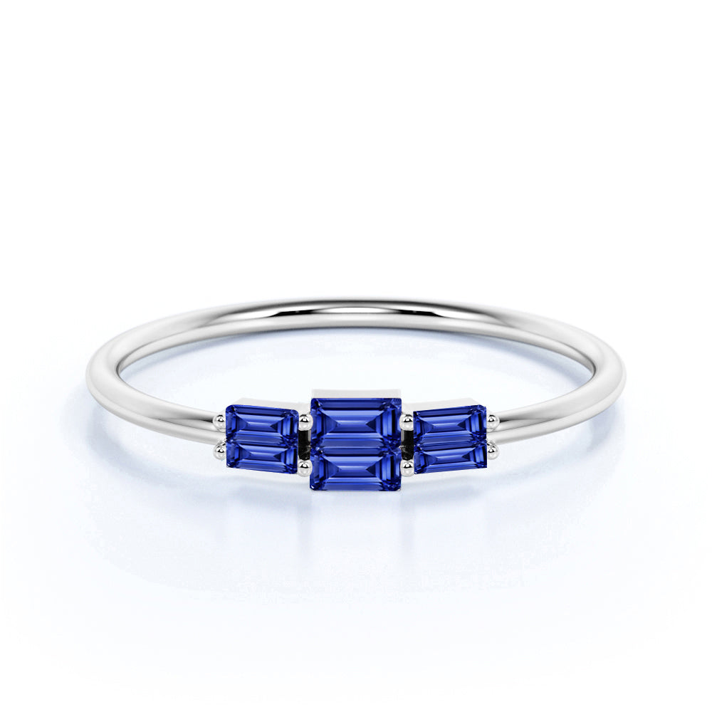 Dainty Trio Stone 0.75 Carat Baguette Cut Dark Blue Sapphire and Vintage Stackable Ring Band in White Gold