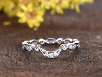 Perfect antique .50 Carat Round cut Diamond Wedding Ring Band in White Gold