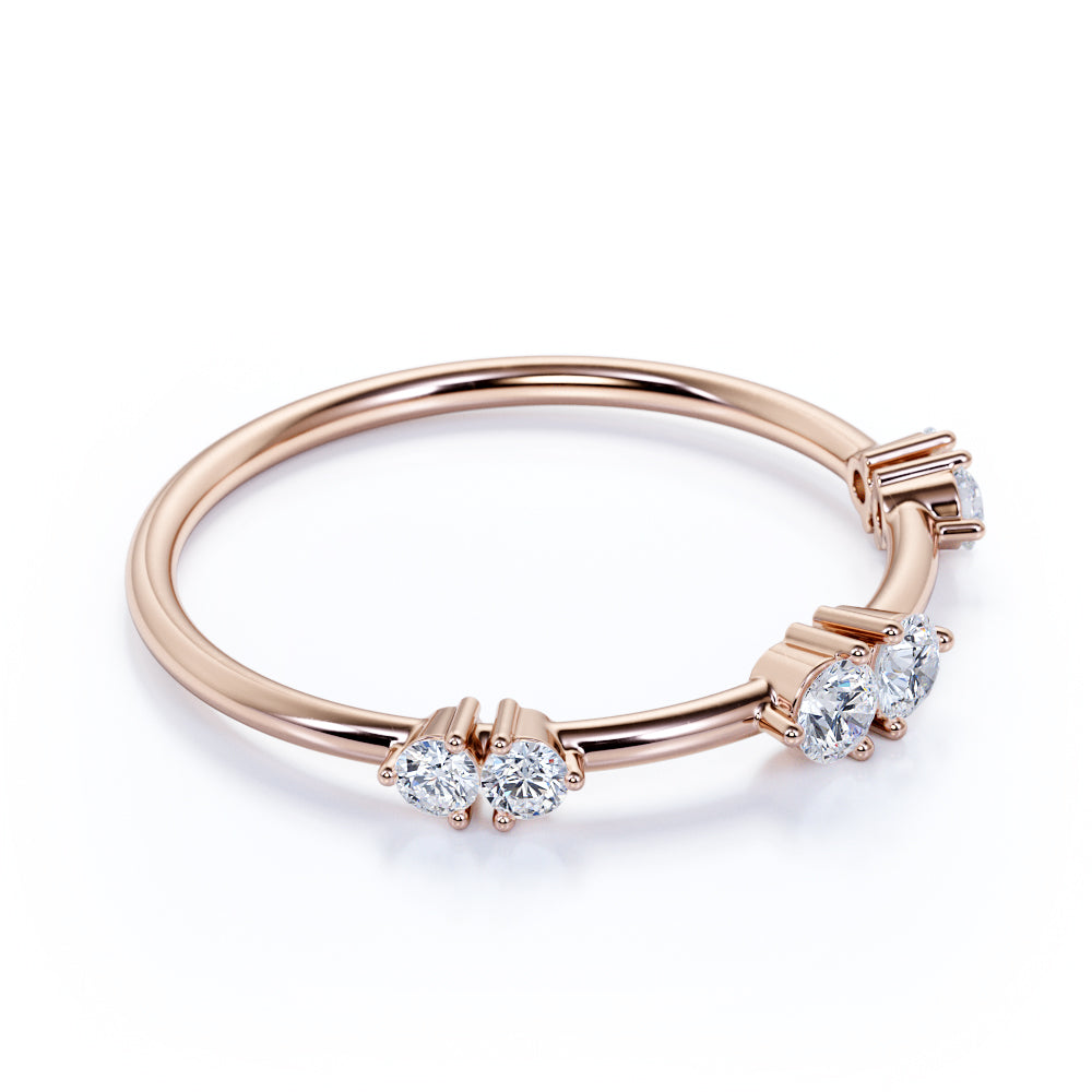 Exquisite Round Authentic Diamond and Dainty Stackable Ring in Rose Gold
