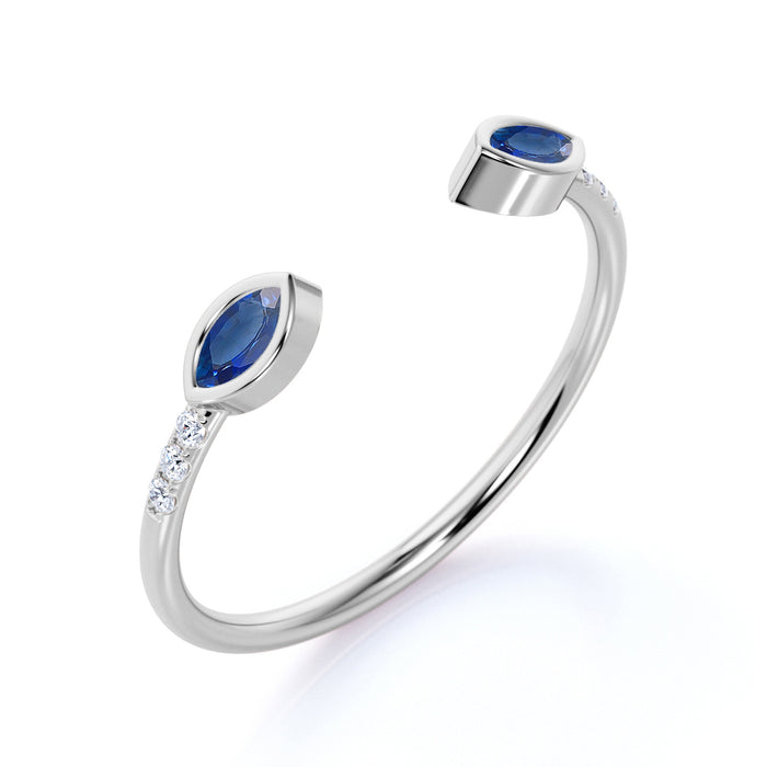 Adjustable 0.62 Carat Marquise Baby Blue Sapphire and Petite Diamond Knuckle Stackable Band in White Gold