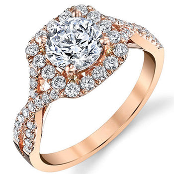 Twisted 1 Carat Round Cut Real Diamond Engagement Ring in 10k Rose Gold
