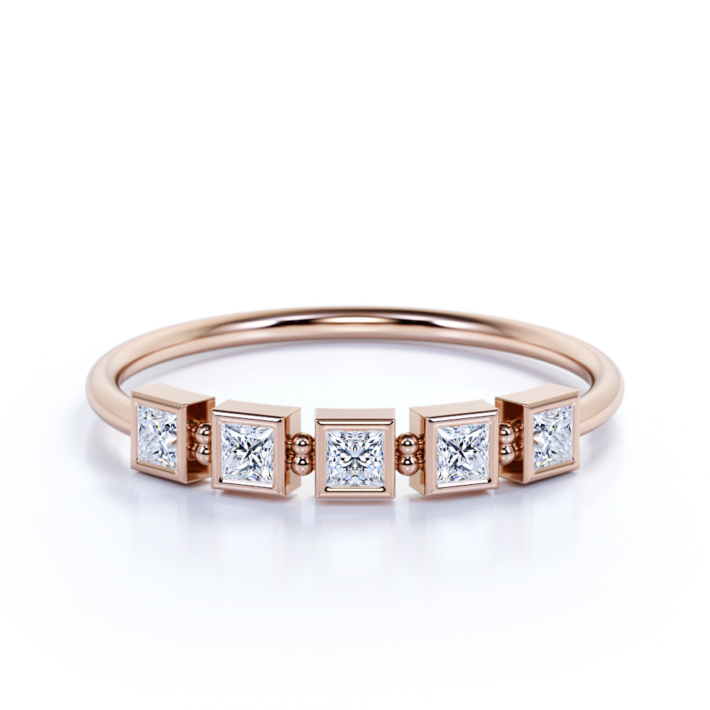 Bezel Style Princess Cut Authentic Diamond and Modern Anniversary Stacking Ring in Rose Gold