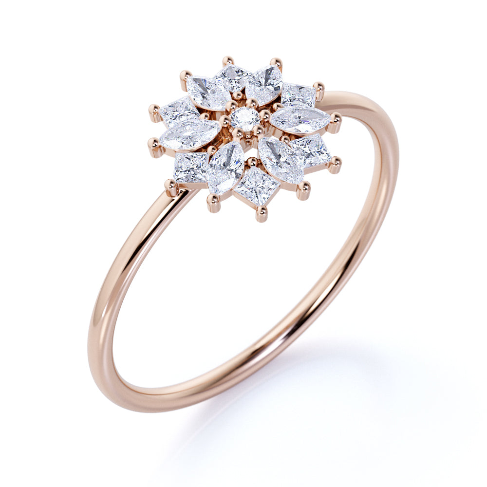 Beautiful Snowflake Marquise Cut Authentic Diamond and Small Engagement Ring in Rose Gold
