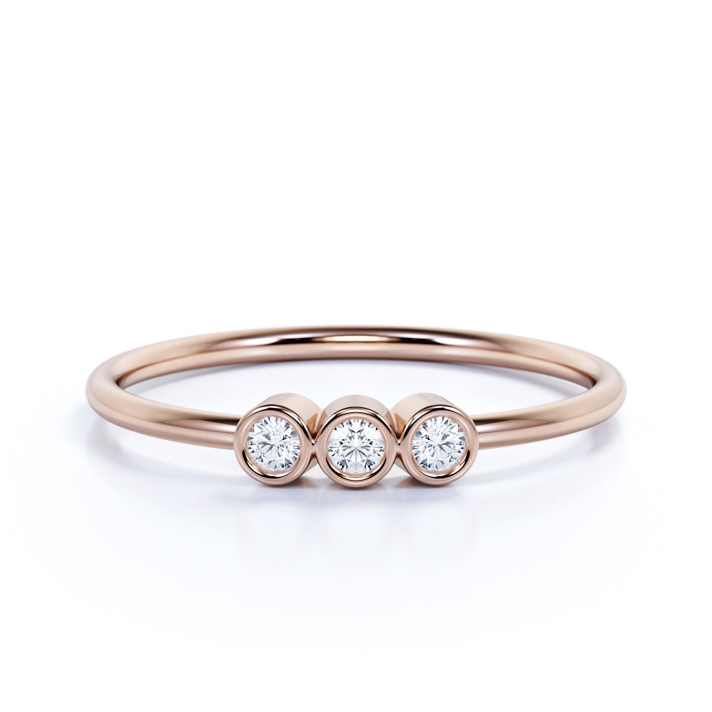 Vintage Round Shape Authentic Diamond and Dainty Three Stone Engagement Ring in Rose Gold