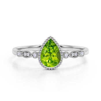 Bezel Set 1.25 Carat Pear Peridot and Diamond Unique Milgrain Engagement Ring in White Gold