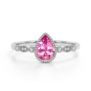 Bezel Set 1.25 Carat Pear Rose Tourmaline and Diamond Unique Milgrain Engagement Ring in White Gold