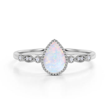 Bezel Set 1.25 Carat Pear Blue Opal and Diamond Unique Milgrain Engagement Ring in White Gold