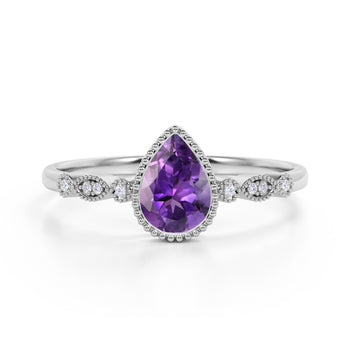 Bezel Set 1.25 Carat Pear Amethyst and Diamond Unique Milgrain Engagement Ring in White Gold