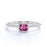 Classic 1 Carat Cushion Red Rubellite Tourmaline and Diamond French Pave Engagement Ring in White Gold