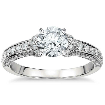 Channel Set 1 Carat Round Cut Real Diamond Engagement Ring in 10k White Gold