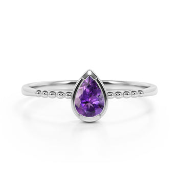 Gypsy Setting 1 Carat Pear Amethyst and Classic Solitaire Engagement Ring in White Gold