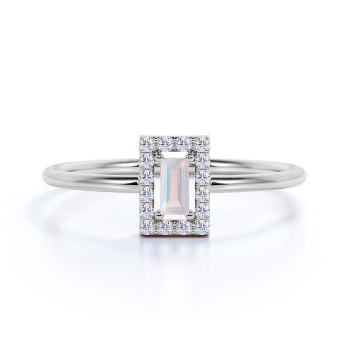 Channel Set Emerald Shape Rainbow Moonstone and Diamond Petite Engagement Ring in White Gold