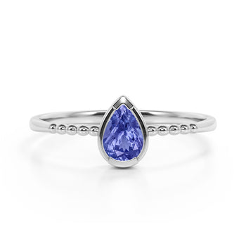 Gypsy Setting 1 Carat Pear Purple Tanzanite and Classic Solitaire Engagement Ring in White Gold