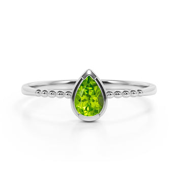 Gypsy Setting 1 Carat Pear Peridot and Classic Solitaire Engagement Ring in White Gold