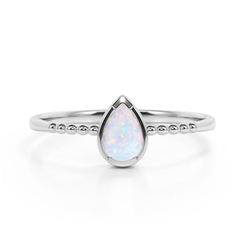 Gypsy Setting 1 Carat Pear Australian Opal and Classic Solitaire Engagement Ring in White Gold
