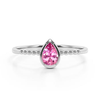 Gypsy Setting 1 Carat Pear Hot Pink Tourmaline and Classic Solitaire Engagement Ring in White Gold