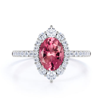 Huge 2.50 Carat Oval Raspberry Pink Tourmaline and Diamond Clustered Engagement Ring in White Gold