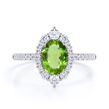 Huge 2.50 Carat Oval Brownish Green Peridot and Diamond Clustered Engagement Ring in White Gold
