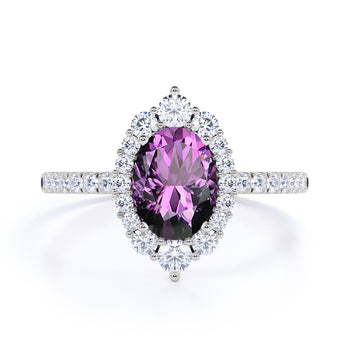 Huge 2.50 Carat Oval Deep Russian Amethyst and Diamond Clustered Engagement Ring in White Gold