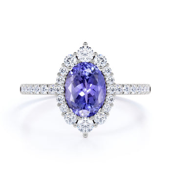 Huge 2.50 Carat Oval Purple Tanzanite and Diamond Clustered Engagement Ring in White Gold