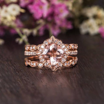 Antique Artdeco 3 Carat Cushion cut Morganite and Diamond Trio Wedding Ring Set in Rose Gold