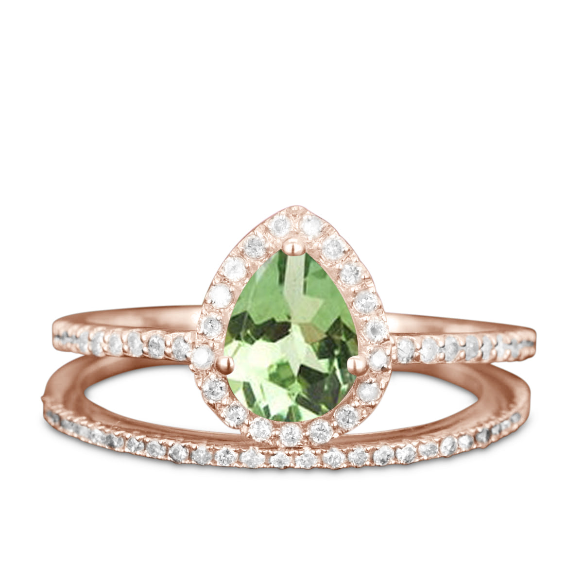 Channel Setting 2 Carat Pear Shaped Green Tourmaline Halo Diamond in Matrix Rose Engagement Ring Sets
