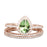 Retro Vintage 2.25 Carat Pear Shape Seafoam Green Tourmaline and Diamond Halo Rose Gold Wedding Sets Trio For Her