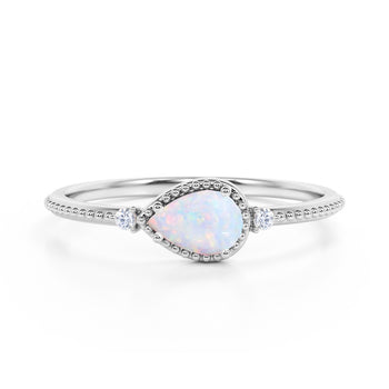 Sideways 1.10 Carat Pear White Opal and 3 Stone Diamond Elegant Engagement Ring in White Gold