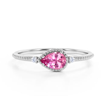 Sideways 1.10 Carat Pear Red Rose Tourmaline and 3 Stone Diamond Elegant Engagement Ring in White Gold