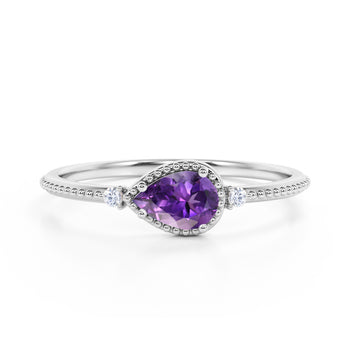 Sideways 1.10 Carat Pear Amethyst and 3 Stone Diamond Elegant Engagement Ring in White Gold