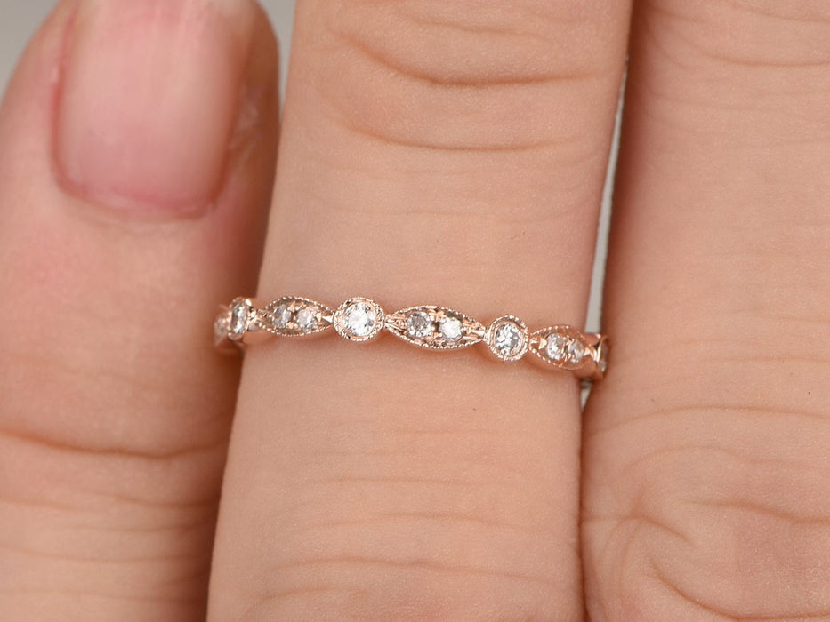3 4 Eternity 35 Carat Artdeco Wedding Ring Band For Her With