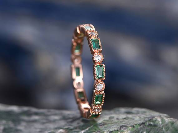 Unique .50 Carat emerald and diamond antique wedding ring band for her in Rose Gold