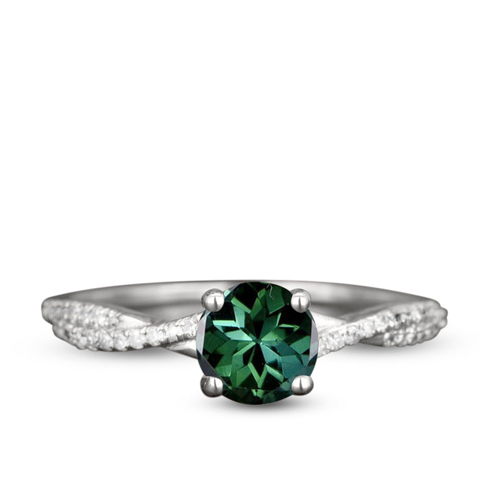 Bestselling 1.75 Carat Emerald Cut Green Tourmaline Cabochon and Diamond Vintage Rose Gold Engagement Rings