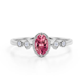 Beautiful 1.10 Carat Oval Shape Pink Rubellite Tourmaline and 5 Stone Diamond Milgrain Engagement Ring in White Gold