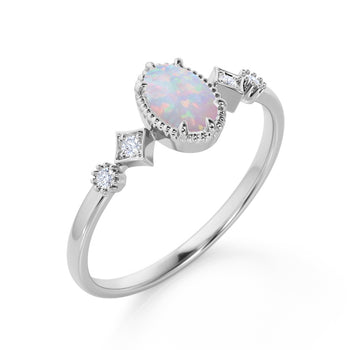 Beautiful 1.10 Carat Oval Shape Mexican Opal and 5 Stone Diamond Milgrain Engagement Ring in White Gold