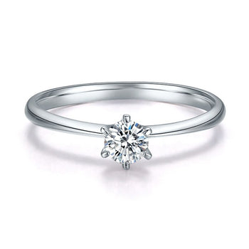 .15 Carat Round Brilliant Real Diamond Solitaire Engagement Ring in 10k White Gold